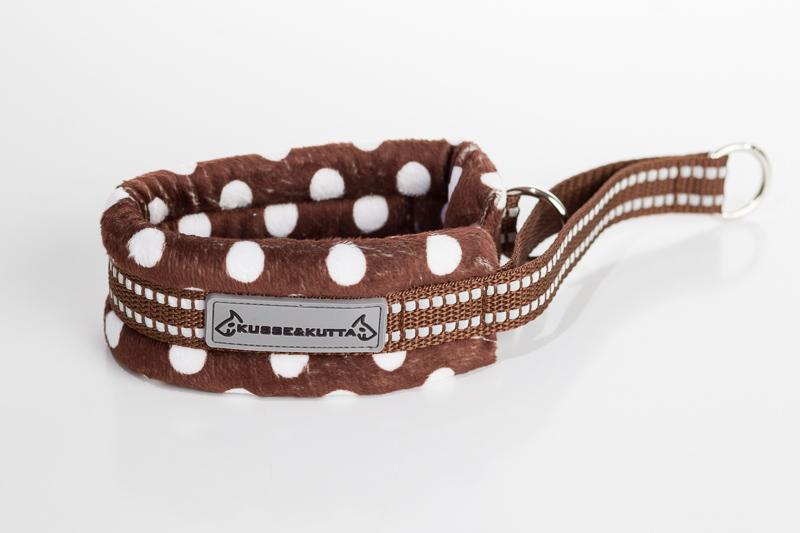 polka-ruskea, puolikuristava pehmokarva, 5cm leveä, 2cm ruskea nauha