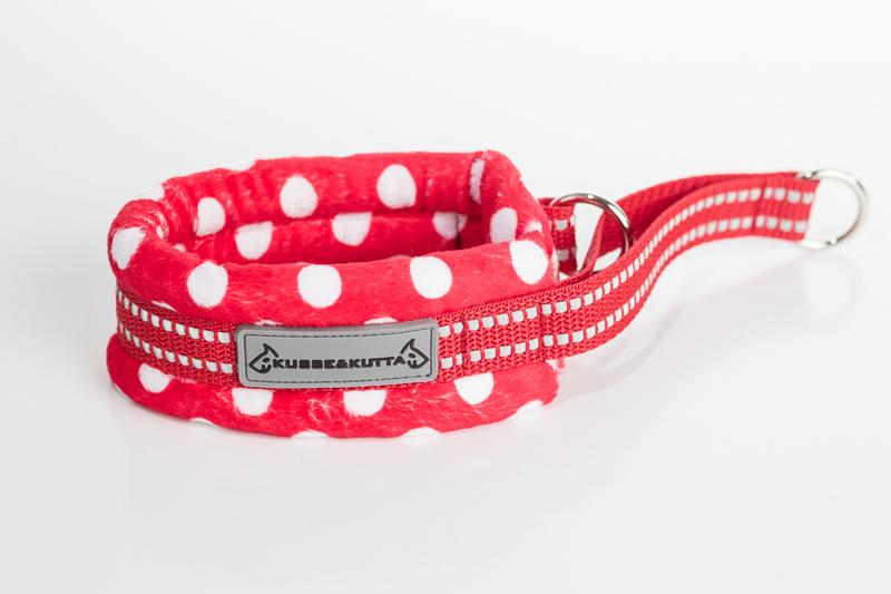 polka-punainen, puolikuristava pehmokarva, 5cm leveä, 2cm punainen nauha