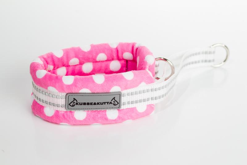 polka-pinkki, puolikuristava pehmokarva, 5cm leveä, 2cm valkoinen nauha