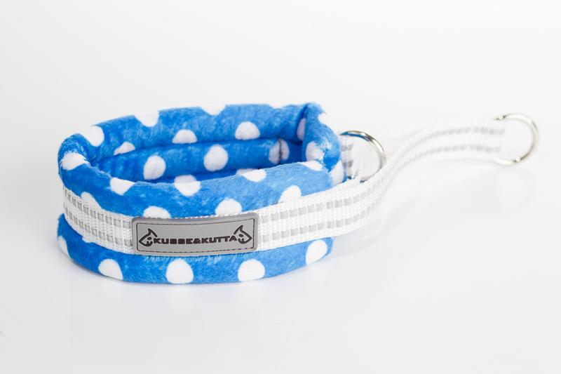 polka-sininen, puolikuristava pehmokarva, 5cm leveä, 2cm valkoinen nauha