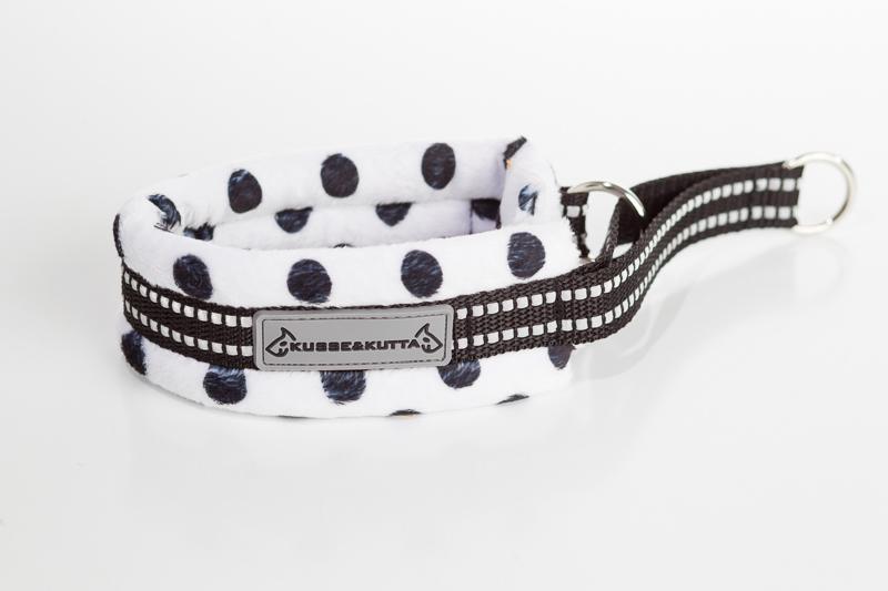 polka-valkoinen, puolikuristava pehmokarva, 5cm leveä, 2cm musta nauha
