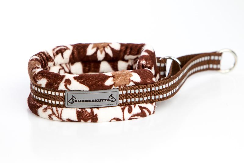 ruskea kukkaketo, puolikuristava pehmokarva, 5cm leveä, 2cm ruskea nauha