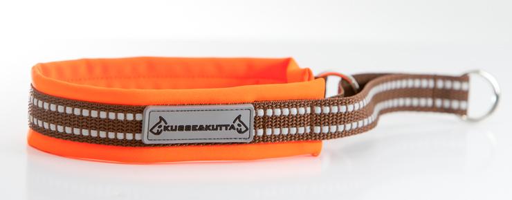 huomio-oranssi, puolikuristava, 3,5cm leveä, 2cm ruskea nauha